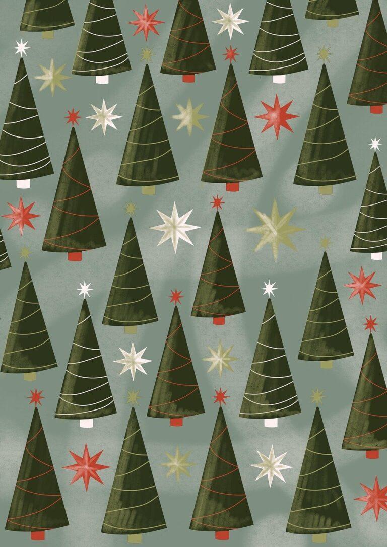 christmas trees, pattern, wallpaper